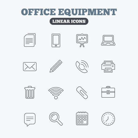 computer printer: Office equipment icons. Computer, printer and smartphone. Wi-fi, chat speech bubble and copy documents. Presentation board, paperclip with pencil and magnifying glass. Linear icons on white background.