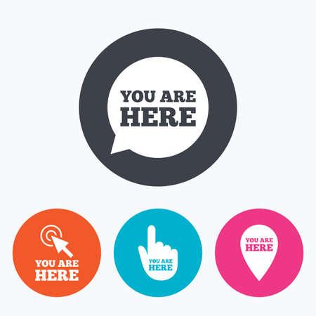 te negro: Estás aquí iconos. el símbolo de información de voz burbujas. puntero del mapa con su letrero de emplazamiento. Cursor de la mano. Un círculo botones planos con el icono. Vectores