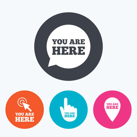You are here icons. Info speech bubble symbol. Map pointer with your location sign. Hand cursor. Circle flat buttons with icon. Illustration