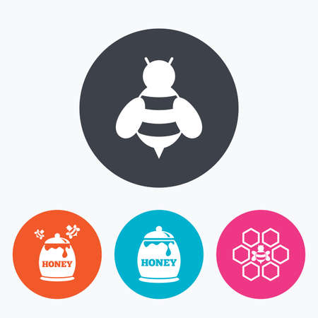 pollination: Honey icon. Honeycomb cells with bees symbol. Sweet natural food signs. Circle flat buttons with icon. Illustration