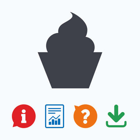 information icon: Muffin sign icon. Cupcake symbol. Information think bubble, question mark, download and report.