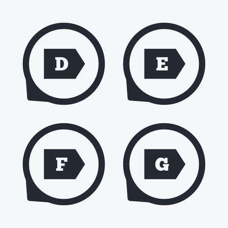 energy consumption: Energy efficiency class icons. Energy consumption sign symbols. Class D, E, F and G. Flat icon pointers. Illustration