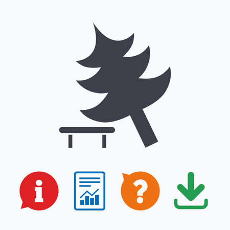 break down: Falling tree sign icon. Caution break down christmas tree symbol. Information think bubble, question mark, download and report.