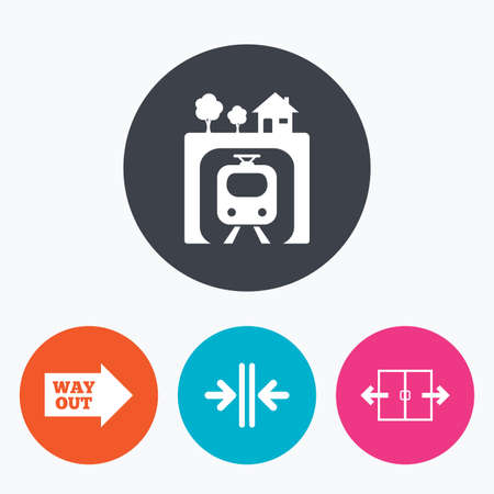 metro train: Underground metro train icon. Automatic door symbol. Way out arrow sign. Circle flat buttons with icon. Illustration