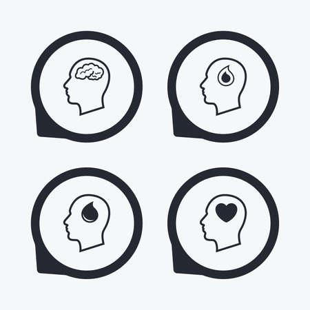 position d amour: Tête avec le cerveau icône. symboles de réflexion humains Homme. goutte de sang signe de don. Coeur d'amour. Flat icon pointeurs.
