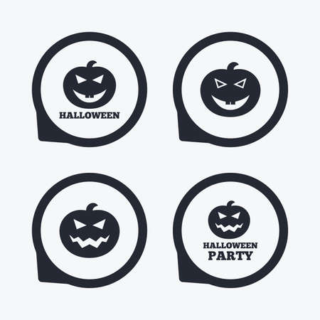 hallows: Halloween pumpkin icons. Halloween party sign symbol. All Hallows Day celebration. Flat icon pointers.