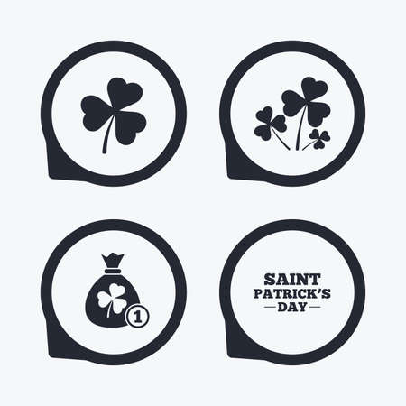 feast of saint patrick: Saint Patrick day icons. Money bag with clover and coin sign. Trefoil shamrock clover. Symbol of good luck. Flat icon pointers.
