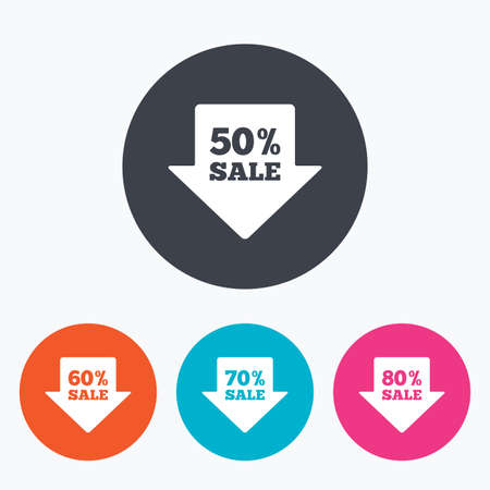 60 70: Sale arrow tag icons. Discount special offer symbols. 50%, 60%, 70% and 80% percent sale signs. Circle flat buttons with icon.