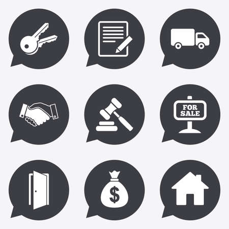 car for sale: Real estate, auction icons. Handshake, for sale and money bag signs. Keys, delivery truck and door symbols. Flat icons in speech bubble pointers.