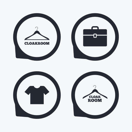 cloakroom: Cloakroom icons. Hanger wardrobe signs. T-shirt clothes and baggage symbols. Flat icon pointers.