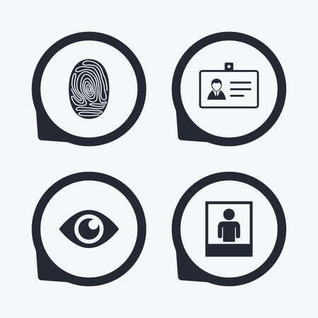 authentication: Identity ID card badge icons. Eye and fingerprint symbols. Authentication signs. Photo frame with human person. Flat icon pointers. Illustration