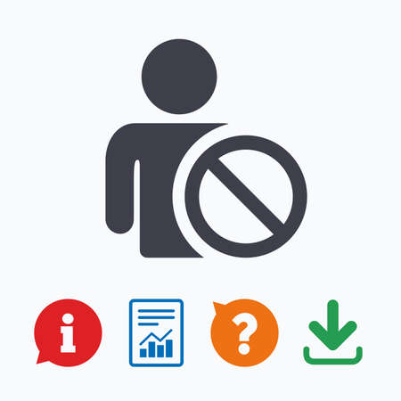Blacklist sign icon. User not allowed symbol. Information think bubble, question mark, download and report.