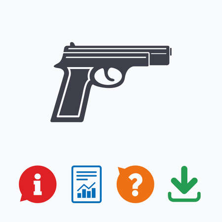 firearms: Gun sign icon. Firearms weapon symbol. Information think bubble, question mark, download and report.