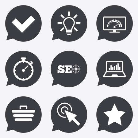 bandwidth: Internet, seo icons. Bandwidth speed, online shopping and tick signs. Favorite star, notebook chart symbols. Flat icons in speech bubble pointers. Illustration