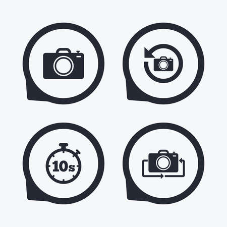 seconds: Photo camera icon. Flip turn or refresh symbols. Stopwatch timer 10 seconds sign. Flat icon pointers.