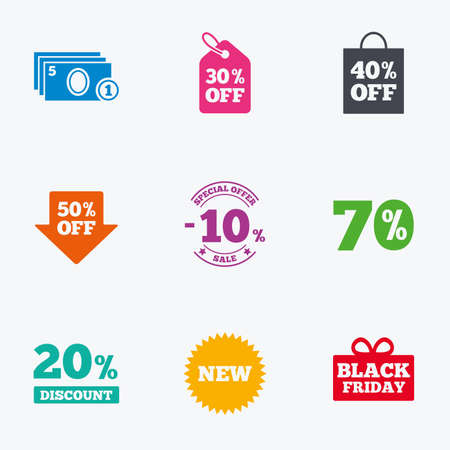 Sale discounts icon. Shopping, black friday and cash money signs. 10, 20, 50 and 70 percent off. Special offer symbols. Flat colored graphic icons. Vektoros illusztráció