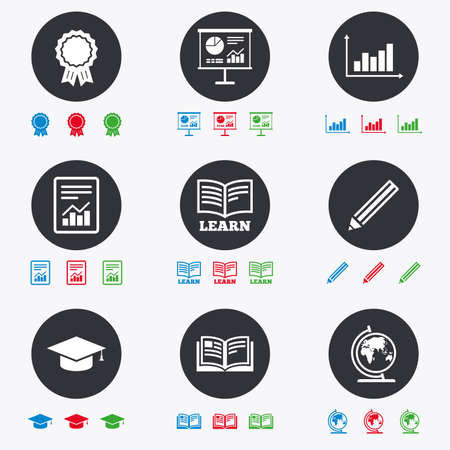 schoolbook: Education and study icon. Presentation signs. Report, analysis and award medal symbols. Flat circle buttons with icons. Illustration