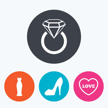 Wedding slim dress icon. Womens shoe and love heart symbols. Wedding or engagement day ring with diamond sign. Circle flat buttons with icon. Illustration
