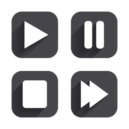 long play: Player navigation icons. Play, stop and pause signs. Next song symbol. Square flat buttons with long shadow.