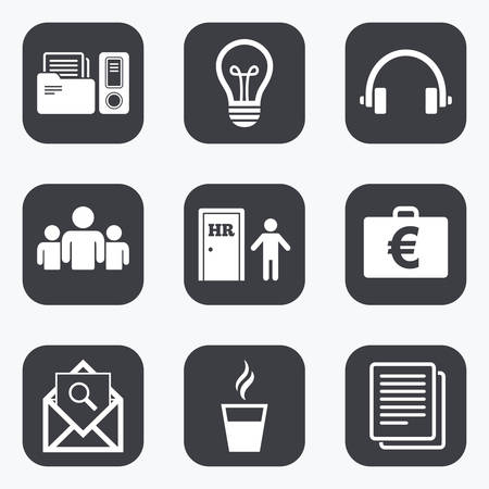 office buttons: Office, documents and business icons. Accounting, human resources and group signs. Mail, ideas and money case symbols. Flat square buttons with rounded corners.
