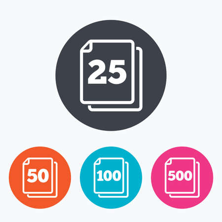 units: In pack sheets icons. Quantity per package symbols. 25, 50, 100 and 500 paper units in the pack signs. Circle flat buttons with icon. Illustration