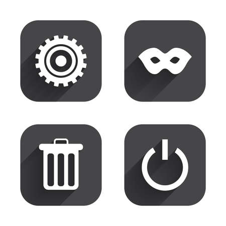 anonymous: Anonymous mask and cogwheel gear icons. Recycle bin delete and power sign symbols. Square flat buttons with long shadow.