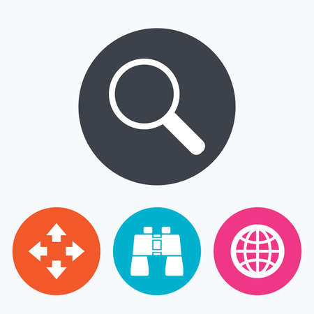 fullscreen: Magnifier glass and globe search icons. Fullscreen arrows and binocular search sign symbols. Circle flat buttons with icon.