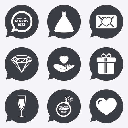 oath: Wedding, engagement icons. Love oath letter, gift box and brilliant signs. Dress, heart and champagne glass symbols. Flat icons in speech bubble pointers. Illustration