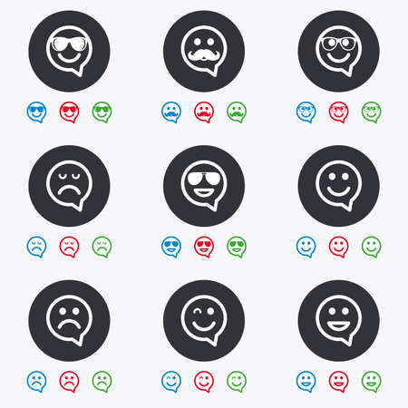 sorrowful: Smile speech bubbles icons. Happy, sad and wink faces signs. Sunglasses, mustache and laughing lol smiley symbols. Flat circle buttons with icons.