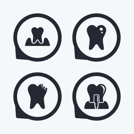 gingivitis: Dental care icons. Caries tooth sign. Tooth endosseous implant symbol. Parodontosis gingivitis sign. Flat icon pointers.