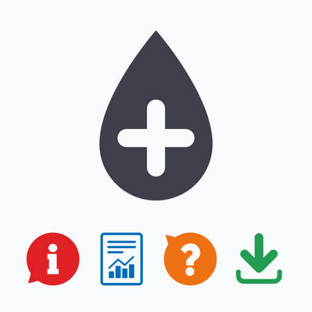 Water drop with plus sign icon. Softens water symbol. Information think bubble, question mark, download and report.