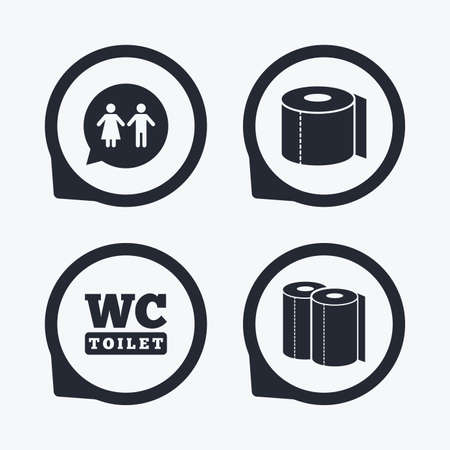 sex positions: Toilet paper icons. Gents and ladies room signs. Paper towel or kitchen roll. Man and woman symbols. Flat icon pointers.
