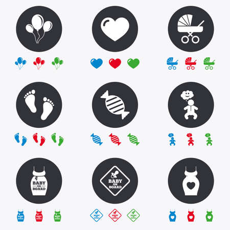 newborn footprint: Pregnancy, maternity and baby care icons. Newborn, strollers and pacifier signs. Footprint, candy and love symbols. Flat circle buttons with icons.