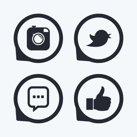chat up: Hipster photo camera icon. Like and Chat speech bubble sign. Hand thumb up. Bird symbol. Flat icon pointers.