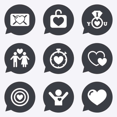 oath: Love, valentine day icons. Target with heart, oath letter and locker symbols. Couple lovers, boyfriend signs. Flat icons in speech bubble pointers.