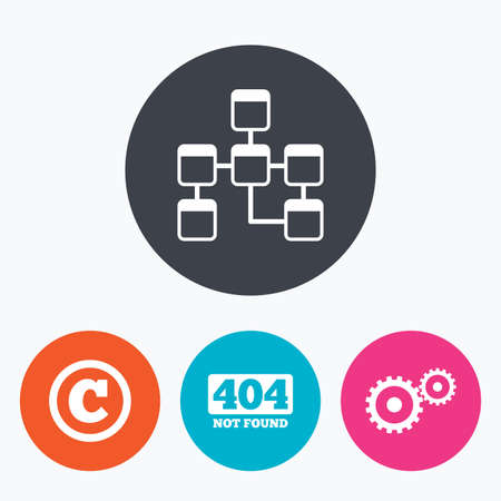 copyrights: Website database icon. Copyrights and gear signs. 404 page not found symbol. Under construction. Circle flat buttons with icon.