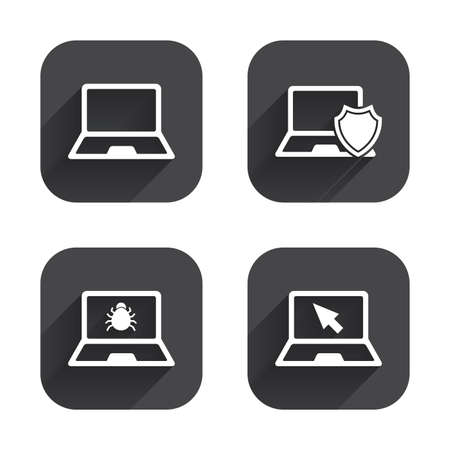 ultrabook: Notebook laptop pc icons. Virus or software bug signs. Shield protection symbol. Mouse cursor pointer. Square flat buttons with long shadow. Illustration