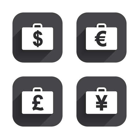 diplomat: Businessman case icons. Cash money diplomat signs. Dollar, euro and pound symbols. Square flat buttons with long shadow. Illustration