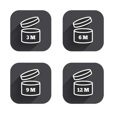 開封後のアイコンを使用します。製品の 6-12 ヶ月有効期限では、シンボルを署名します。食料品項目の貯蔵寿命。正方形の長い影とフラットなボタ  イラスト・ベクター素材