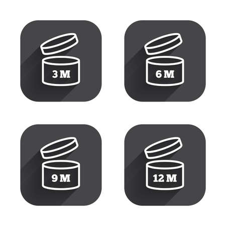 After opening use icons. Expiration date 6-12 months of product signs symbols. Shelf life of grocery item. Square flat buttons with long shadow.