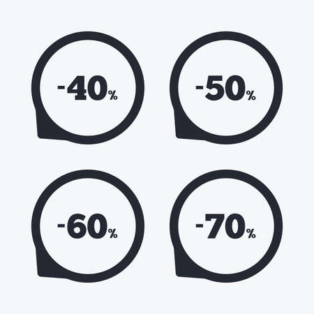 50 to 60: Sale discount icons. Special offer price signs. 40, 50, 60 and 70 percent off reduction symbols. Flat icon pointers. Illustration
