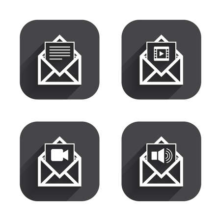 voice mail: Mail envelope icons. Message document symbols. Video and Audio voice message signs. Square flat buttons with long shadow.
