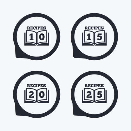 15 to 20: Cookbook icons. 10, 15, 20 and 25 recipes book sign symbols. Flat icon pointers.