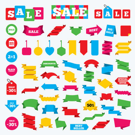 sign equals: Web stickers, banners and labels. Sale speech bubble icons. Two equals one. Black friday sign. Big sale shopping bag symbol. Price tags set. Illustration