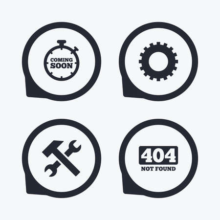 not found: Coming soon icon. Repair service tool and gear symbols. Hammer with wrench signs. 404 Not found. Flat icon pointers. Illustration