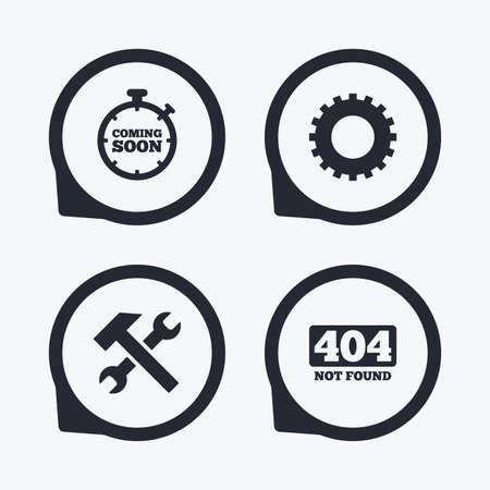 Próximamente icono. herramienta de servicio de reparación y símbolos de engranajes. Martillo con signos llave. 404 No encontrado. punteros icono planas.