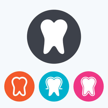 enamel: Tooth enamel protection icons. Dental care signs. Healthy teeth symbols. Circle flat buttons with icon.