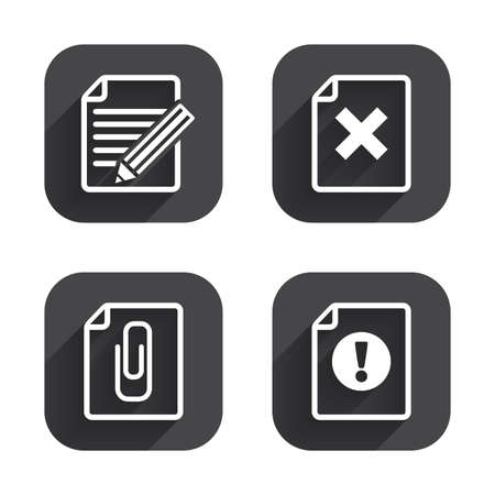 attach: File attention icons. Document delete and pencil edit symbols. Paper clip attach sign. Square flat buttons with long shadow.