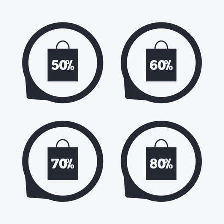50 to 60: Sale bag tag icons. Discount special offer symbols. 50%, 60%, 70% and 80% percent discount signs. Flat icon pointers. Illustration