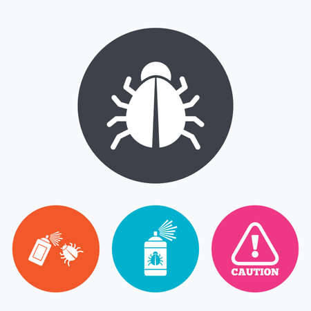disinfection: Bug disinfection icons. Caution attention symbol. Insect fumigation spray sign. Circle flat buttons with icon.